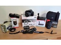 Canon 300D Digital SLR camera with various accessories
