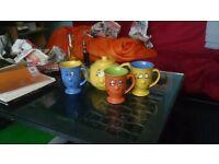 Tradewinds Tea Trio Set Teapot+3 Cups Smiley Faces
