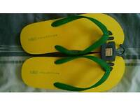 M&S XL mens yellow flip flops - new with tags
