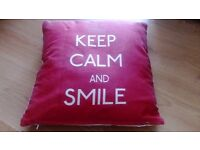 Keep calm and smile cushion red and white