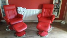 2 modern red faux leather Recliner swivel chairs with footstools with chrome trims