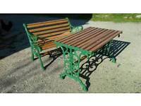 Cast iron & wood garden bench & table.