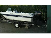OLYMPIC 400 DC BOAT SUZUKI 50 HP ENGINE & TRAILER