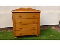 Solid Pine 4 Drawer Baby Changing Unit