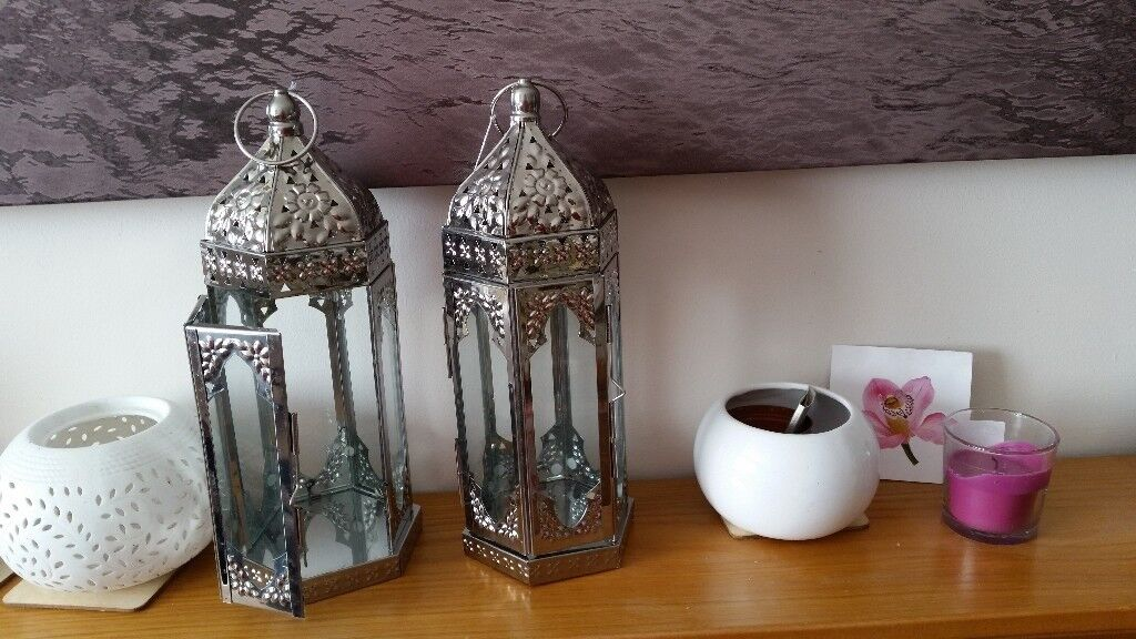 2 Large Silver Moroccan Style Lanterns - Brand New