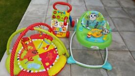 Bright Starts Baby walker in excellent condition, baby walker with playing board and playing matt.