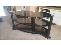 TV Black Glass 3 Tier Stand with integral cable column.