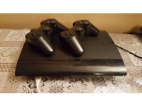 Playstation 3 Super-Slim 500GB With 2 Wireless Dual Shock Controllers and 7 Latest Games