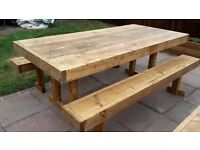 Garden table and benches
