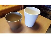 Two Painted Earthenware Pots in Good Condition