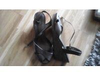 M&S footglove bronze wedge sandals size 5