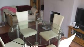Fabulous quality extending glass table and 4 leather chairs