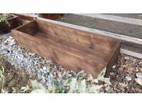 Long trough planter handmade solid wood