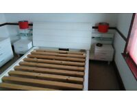 KING SIZE BED FRAME AND SIDE TABLES