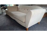 Stylish Suede/Fabric DFS 3 Seater Sofa with Footstool