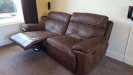 Half leather/suede Recliner Sofa