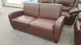 Julian Bowen Vivo 2 Seater Sofabed in Chestnut Brown Faux Leather Can/Del View Hucknall Nottm