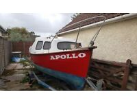 REDUCED: 16' Cabin Fishing Boat (Apollo) with Road Trailer, 20HP outboard and 4HP backup.