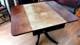 Georgian drop leaf dining table PLUS all contents of drawer