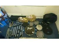 Traps A400 Portable Drum Kit w/ Practice Pads, 2 pairs of Drum Sticks & Stool
