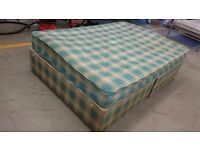 Square grid double bed and mattress