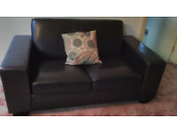 2 seater leather sofa, dark brown, very good condition