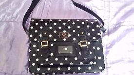 Retro School style satchel bag - black with white polka dots - New without tags
