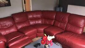 Red leather corner recliner