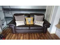 Dark brown leather 3 seater + 2 chairs