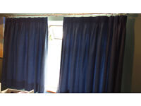 Excellent quality thick blue lined curtains and brushed steel curtain pole