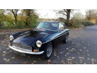 MGB GT 1969 coupe' black original chrome bumper model new leather seats