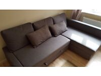 IKEA FRIHETEN Corner sofa-bed with storage, Skiftebo dark grey