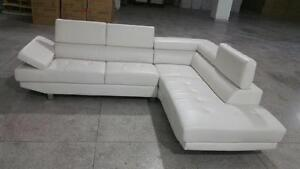 SALE ON NOW 2PCS BONDED LEATHER SECTIONAL WITH ADJUSTABLE HEAD REST $769 LOWEST PRICES GUARANTEED