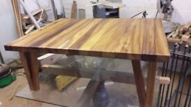 coffee table iroko hand made with love 1000 mm long by around 800 mm wide by 45mm thick