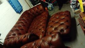chesterfield styled 3 seater sofa, club chair