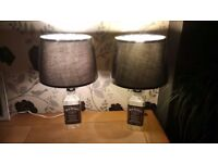Pair of Hand made up cycled 70cl Jack Daniels bottle table lamps
