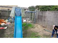 TP climbing frame, with den, slide, monkey bars and cargo net