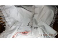 LARGE LOT ANTIQUE IRISH LINEN-FROM MY OWN COLLECTION VICTORIAN/ EDWARDIAN HAND FINISHED