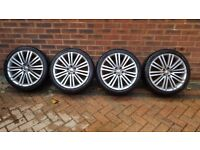 "VW Polo GT Montani alloy's 17"" with nearly new Pirelli P7 tyres set of 4 and two dunlop sport tyres"