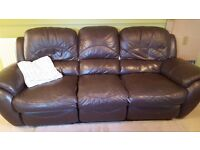 Free to collect! Three seater faux leather sofa in dark brown