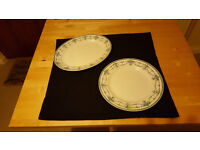 Set of 2 lovely and elegant white and blue china serving plates. £3!!