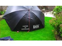 Fosters flat back brolly