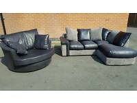 Fabulous BRAND NEW black grey sofa suite .large swivel chair and corner sofa .can deliver