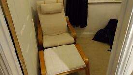 Ikea Poang chair with foot stall