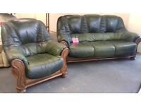 Real Leather, SOLID OAK FRAME 3 Seater Settee & Chair. VERY GOOD CONDITION... Local Delivery...