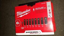 "Milwaukee 49-66-4484 Wrench Impact Sockets Shockwave 9 Piece 3/8""~3/4"" new 2017"