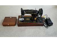 Vintage Singer Electric Sewing machine with electric pedal and light