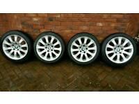 "17""BMW alloy wheels with 225x45x17 tyres. Size 8Jx17."
