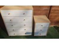 Matching chest of drawers and bedside cabinet