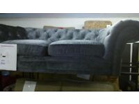 2 Bardon Fabric Armchair Chesterfield With Stud Detail And Matching Sofa